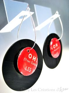 Recycled record earrings $24.00