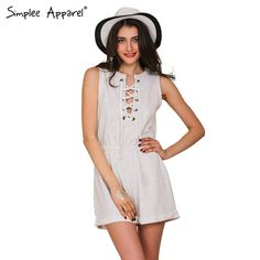 Simplee Apparel One piece girls lace up jumpsuit romper Women high waist casual overalls Summer 2016 short beach sport playsuit