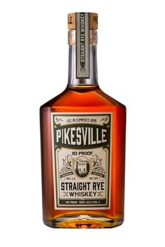 In the glass, this rye whiskey is pale copper, with aromas of dusty cocoa and oaky smoke. The palate is dry and spicy with honeyed rye and cloves, with a finish of soft vanilla and baking spices. Pikesville Straight Rye Whiskey is one of those spirits tha Best Rye Whiskey, Bourbon Whiskey, Whiskey Trail, Whiskey Girl, Bourbon Cocktails, Scotch Whisky, Whiskey Glasses, Whiskey Bottle, Whiskey Decanter