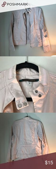 Jacket! Cool biker jacket with a great feminine touch with it's light pink/blush color. Great detailing and structure, size 8 with 2 functional pockets up front. Loved wearing this jacket with jeans or a dress to add a coolness to my looks. Jackets & Coats