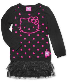 Hello Kitty Girls Dress, Little Girls Ruffled Sweater Dress - Kids - Macy's. So cute! #ad #hellokittyletsplay #PMedia #kukeeapp
