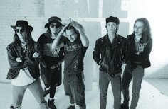 "Pearl Jam posed for photos in a Pioneer Square studio for the cover of its debut record, ""Ten."" From left to right: Mike McCready, Jeff Ament, Eddie Vedder, Dave Krusen, Stone Gossard. (Lance Mercer / 1991)"