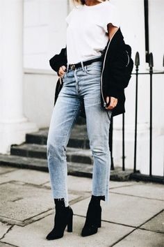 White T shirt and jeans combination with black bomber jacket pinterest || macselective