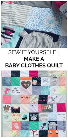 Baby Diy Clothes Girl Memory Quilts 26 Ideas For 2019 Baby Clothes Blanket, Old Baby Clothes, Sewing Baby Clothes, Baby Clothes Patterns, Trendy Baby Clothes, Baby Patterns, Clothing Patterns, Easy Diy Baby Clothes Quilt, Quilts From Baby Clothes
