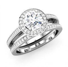 Beautiful Halo Diamond Ring Bridal Set with Matching Wedding Band - http://www.mybridalring.com/Rings/14k-round-shape-semi-mount-with-matching-diamond-band/