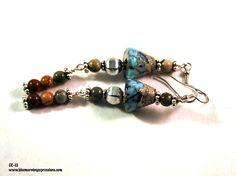 Earrings for Women, Dangle Earrings, Boho Earrings, Lampwork Bead Earrings, Long Earrings, Bohemian Jewelry