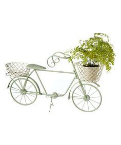 Look at this #zulilyfind! Sage Bicycle Planter & White Baskets #zulilyfinds