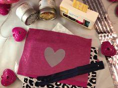 Glitter Shake Foil Heart Zip Pouch - Queen Mama Diaries