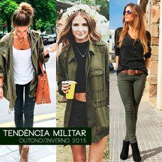 Tendência Militar - inverno 2015 looks http://www.beckerevoce.com.br/tendencia-estilo-militar-2015/