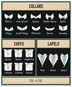"bows-n-ties: "" Guide to Shirt Collars and Cuffs in Menswear """