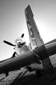 P-51 Mustang. Black and white aviation photography.