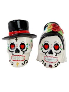 """""""Day Of The Dead Wedding Skulls"""" Salt And Pepper Shakers by Pacific Trading (White)"""