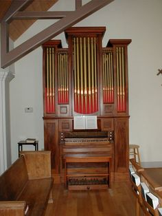 """Organ in Carter Chapel at St. John's Episcopal Church in Tallahassee, Florida. It is known as the """"Jingle Bells Organ"""" because organist/composer James Pierpoint used it to compose """"The One Horse Open Sleigh"""" (later known as """"Jingle Bells"""") in Savannah, Georgia in 1857. To learn more about the organs at St. John's Episcopal Church, go to http://www.saint-john.org/spiritual-formation/music/organs/."""