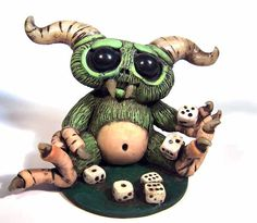 Monster Gamer desk buddy Dice PlayWell OOAK by CovingtonCreations
