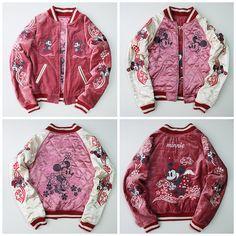 Rare Vintage Japan Tokyo Disneyland DISNEY Minnie Mouse Sakura Souvenir Embroidery Sukajan Jacket