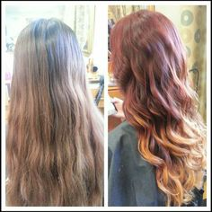 burgundy to gold ombre hair