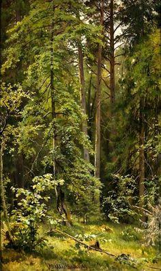 Athenaeum - A Forest (Ivan Ivanovich Shishkin - ) Forest Landscape, Landscape Art, Landscape Paintings, Landscape Design, Forest Art, Tree Forest, Watercolor Trees, Watercolor Landscape, Cool Landscapes