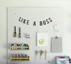 Peggy Sue Craft Room Solution - How to install a peg board in your craft room.