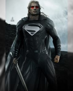 Jessica Perez - Superman x Witcher Superman X, Superman Cavill, Black And White Suit, Female Hero, Armor Concept, Man Of Steel, The Witcher, Aquaman, Justice League