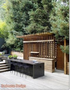 bar area in outdoor kitchen. Not necessarily this style, but the idea. If we had a bar with a sink, could repurpose the one from the guest room. Simple Outdoor Kitchen, Rustic Outdoor Kitchens, Outdoor Kitchen Bars, Outdoor Kitchen Design, Patio Design, Outdoor Rooms, Outdoor Living, Outdoor Decor, Modern Backyard