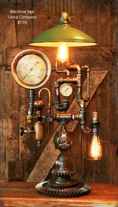 Steampunk Industrial, Steam Gauge and Brass Oiler Lamp - #776 - SOLD