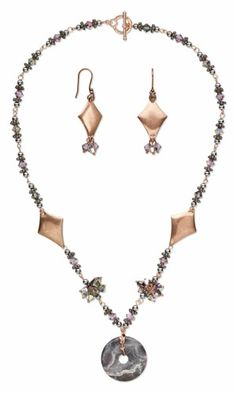Single-Strand Necklace and Earring Set with Terra Rosa Jasper Gemstone Focal, Antiqued Copper-Plated Steel Drops and SWAROVSKI ELEMENTS