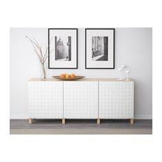 BESTÅ Storage combination with doors - white stained oak effect/Djupviken white - IKEA