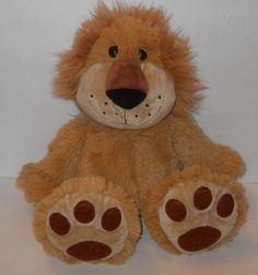 "11"" Lion Stuffed Plush Animal Doll Toy Large Big Feet Shaggy Fur No Brand Tag #Unbranded"