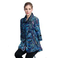 """Damee NY Soutache """"Butterflies"""" Jacket in Blue/ Multi - Blues, Nyc, Butterfly, Jackets, Tops, Dresses, Women, Fashion, Down Jackets"""