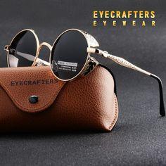 b7f5a415c78 Gold Polarized Gothic Steampunk Sunglasses Coating Mirrored Round Circle Sun  glasses Retro Vintage Gafas Masculino Black