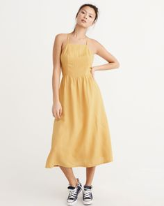 Womens Dresses & Rompers | Abercrombie & Fitch https://www.abercrombie.com/shop/us/womens-dresses-and-rompers/square-neck-midi-dress-8811128_02?ofp=true