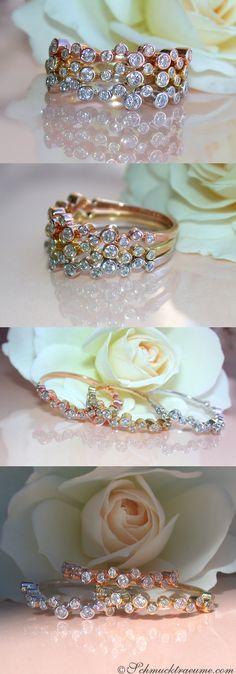 Captivating: Three Diamond Eternity Rings, 0.81 ct. H-SI RG/WG/YG-14K - Visit: schmucktraeume.com Mail: info[at]schmucktraeume.com
