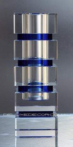 Modern Stunning Blue Detail Crystal Glass Vase 8001-7 http://deluxedecor.com.au/products-page/vases/