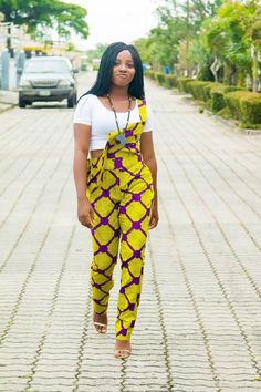 African Print Dungarees, Yaounde, the Ankara Dungarees and head wrap Short African Dresses, African Fashion Dresses, Ankara Fashion, African Outfits, Fashion Skirts, Short Dresses, African Inspired Fashion, African Print Fashion, African Prints