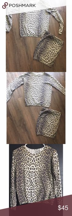 """ASOS leopard sweater skirt set The pattern variation on this is so cool! I envision this as a very """"clueless"""" outfit.💁🏼 sweater top is cut like a crew neck sweatshirt, the skirt has a stretchy banded top. Top-US 4 bottom US 2 like new ASOS Dresses"""