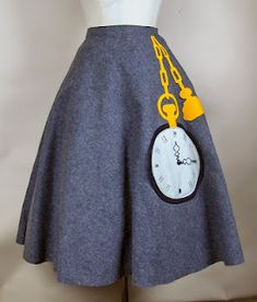 Pocket watch, appliqued felt skirt from the 1950s- Totally Alice in Wonderland