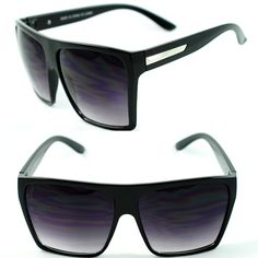 Womens Oversized Diva Huge Square Traperzoid Super Flat Top Celebrity Sunglasses #Square