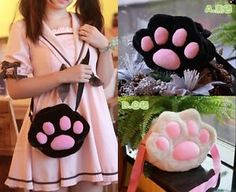Kawaii Lolita Cat's Paw Claw Plush Messenger Shoulder Bag Purse Girls Gift