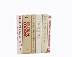 VIntage Cookbooks, Beige Kitchen Decor, White Cooking Gift, Decorative Books,  Antique book set,  Holiday Cook Book, Rustic Book COllection
