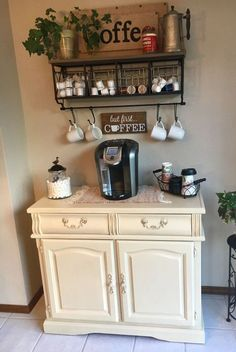 coffee corner 11 Adorable DIY Coffee Bar Ideas For Your Cozy Home - architecturian Coffee Nook, Coffee Bar Home, Coffe Bar, Coffee Maker, Coffee Machine, Coffee Corner Kitchen, House Coffee, Kitchen Small, Coffee Bar Station
