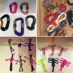 Range of keyrings using paracord, upcycled retired climbing rope and carabiners