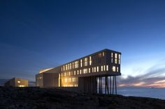 Fogo Island hotel in Newfoundland - Architecture and Urban Living - Modern and Historical Buildings - City Planning - Travel Photography Destinations - Amazing Scary Places Fogo Island Hotel, Winter Lodge, Newfoundland And Labrador, Newfoundland Canada, House On Stilts, Beautiful Ocean, Hotels And Resorts, Lodges, Contemporary Design