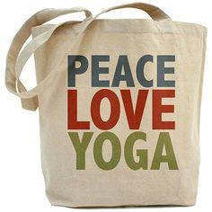 bee23285f363 CafePress - Peace Love Yoga Tote Bag - Walmart.com