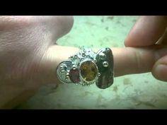 Gregory Pyra Piro handgjord ring 3293, silver, guld 585, granat, citrin
