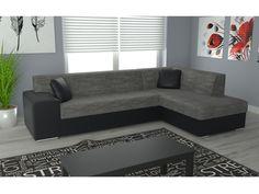 Rohová sedačka COMO pravá, šedá látka/černá ekokůže Rozkládací rohová sedačka COMO pravá Obrázek rozložené sedačky je jen ilustrativní (jiná barva)! Potahová látka: berlin 01 = šedá látka prošitá béžovou a černou nití/eco soft = černá … Couch, Furniture, Home Decor, Settee, Decoration Home, Sofa, Room Decor, Home Furnishings, Sofas