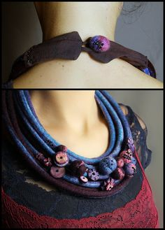 Felted necklace with bracelet in blue, purple and pink with balls and beads.