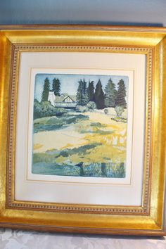 """Gail Packer - 4 plate Etching - Hand Etched and Printed  Art - """"El Molino Rancho"""""""