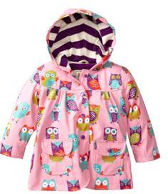 Hatley Little Girls' Rain Coat-Party Owls, Pink, Original hatley design. Terry cloth lining. Baby Raincoat, Girls Raincoat, Cute Raincoats, Raincoats For Women, Rain Gear, Cute Baby Clothes, Kids Outfits, Kids Fashion
