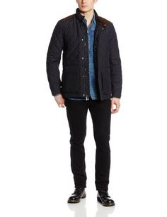 Vince Camuto Men's 32 Inch Quilted Nylon Jacket with Faux Suede Details, Blue, Large Vince Camuto ++You can get best price to buy this with big discount just for you.++