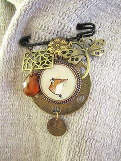Fox Brooch Pin  Animal Pin Shawl Pin or Scarf Pin  by sarahogren, $36.00